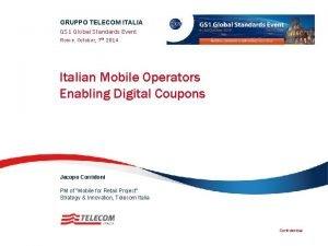 GRUPPO TELECOM ITALIA GS 1 Global Standards Event