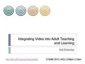 Integrating Video into Adult Teaching and Learning Nell