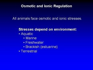 Osmotic and Ionic Regulation All animals face osmotic