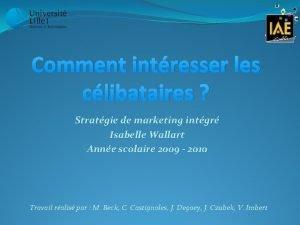 Comment intresser les clibataires Stratgie de marketing intgr
