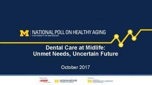 Dental Care at Midlife Unmet Needs Uncertain Future