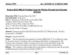 January 2014 doc IEEE 802 15 14 0030