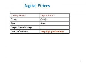 Digital Filters Analog Filters Digital Filters Cheap Costly