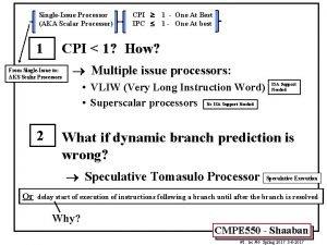 SingleIssue Processor AKA Scalar Processor CPI IPC 1
