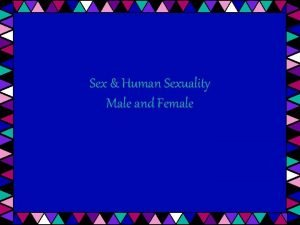 Sex Human Sexuality Male and Female Male Reproductive