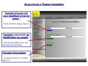 Ecran daccs Gestion Immobilire Fonction daccs GI avec