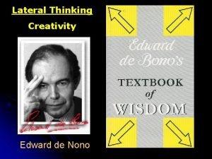 Lateral Thinking Creativity Edward de Nono Cleverness Wisdom