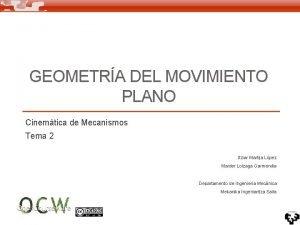 GEOMETRA DEL MOVIMIENTO PLANO Cinemtica de Mecanismos Tema