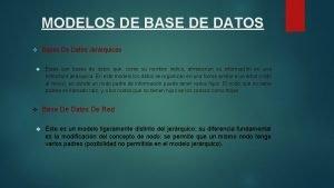 MODELOS DE BASE DE DATOS Bases De Datos