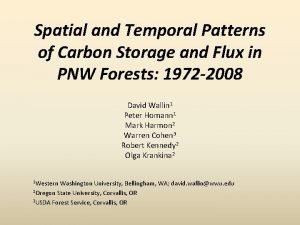 Spatial and Temporal Patterns of Carbon Storage and