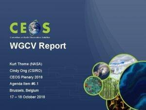 Committee on Earth Observation Satellites WGCV Report Kurt