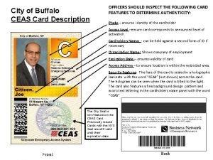 City of Buffalo CEAS Card Description OFFICERS SHOULD