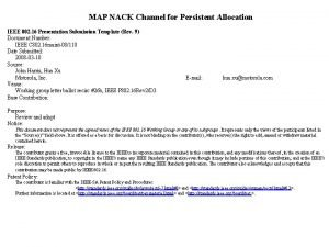 MAP NACK Channel for Persistent Allocation IEEE 802
