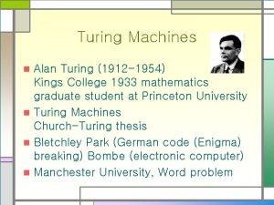 Turing Machines Alan Turing 1912 1954 Kings College