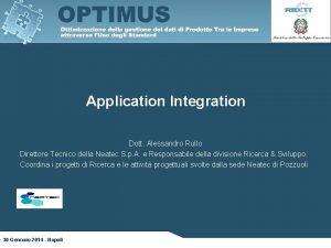 Application Integration Dott Alessandro Rullo Direttore Tecnico della
