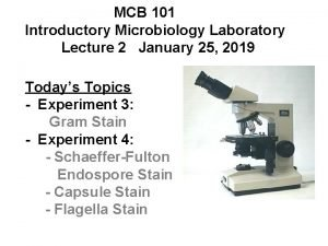 MCB 101 Introductory Microbiology Laboratory Lecture 2 January