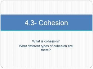 4 3 Cohesion What is cohesion What different