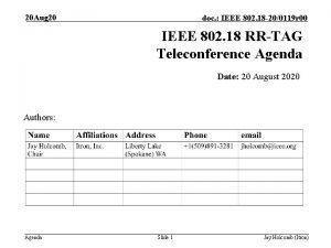 20 Aug 20 doc IEEE 802 18 200119