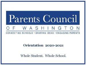 Orientation 2020 2021 Whole Student Whole School Todays