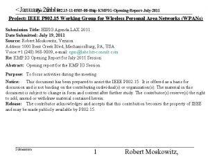 January 2011 doc IEEE 802 15 11 0505