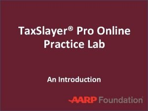Tax Slayer Pro Online Practice Lab An Introduction