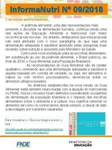 Informa Nutri N 092018 Carosas nutricionistas A pirmide