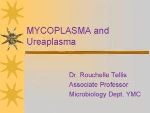 MYCOPLASMA and Ureaplasma Dr Rouchelle Tellis Associate Professor