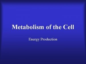 Metabolism of the Cell Energy Production Metabolism Refers