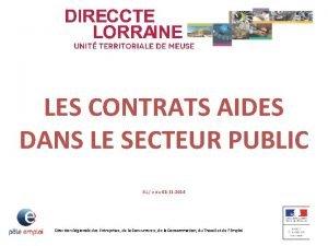 LES CONTRATS AIDES DANS LE SECTEUR PUBLIC JLL