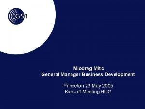 Miodrag Mitic General Manager Business Development Princeton 23