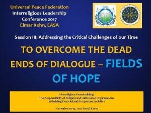 Universal Peace Federation Interreligious Leadership Conference 2017 Elmar