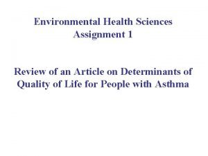 Environmental Health Sciences Assignment 1 Review of an