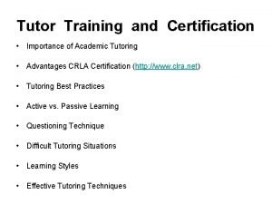 Tutor Training and Certification Importance of Academic Tutoring