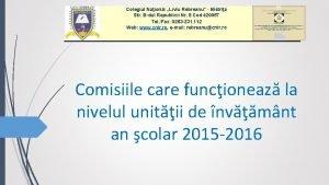 Colegiul Naional Liviu Rebreanu Bistria Str Bdul Republicii