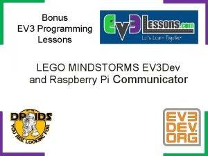 Bonus EV 3 Programming Lessons LEGO MINDSTORMS EV