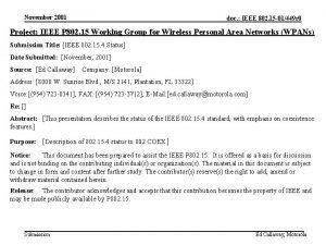 November 2001 doc IEEE 802 15 01449 r