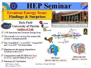 HEP Seminar Tevatron Energy Scan Findings Surprises Rick