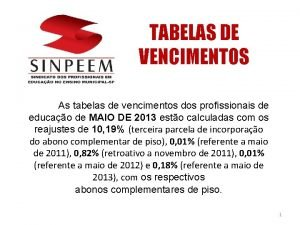 TABELAS DE VENCIMENTOS As tabelas de vencimentos dos