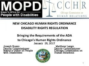 NEW CHICAGO HUMAN RIGHTS ORDINANCE DISABILITY RIGHTS REGULATION