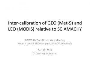 Intercalibration of GEO Met9 and LEO MODIS relative