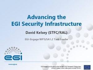 Advancing the EGI Security Infrastructure David Kelsey STFCRAL