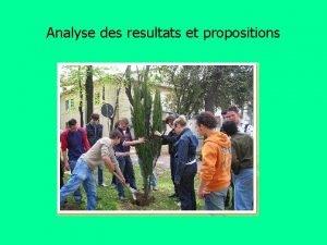 Analyse des resultats et propositions Criticits observes par