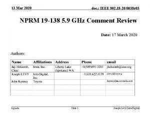 13 Mar 2020 doc IEEE 802 18 200038