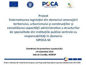 Proiect Sistematizarea legislaiei din domeniul amenajrii teritoriului urbanismului