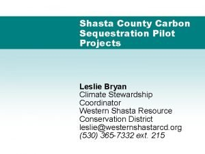 Shasta County Carbon Sequestration Pilot Projects Leslie Bryan