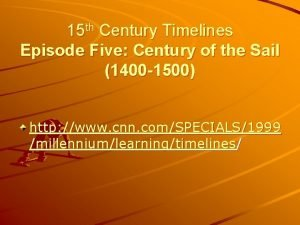 15 th Century Timelines Episode Five Century of