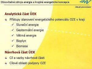 Obnoviteln zdroje energie a krajsk energetick koncepce Obsah