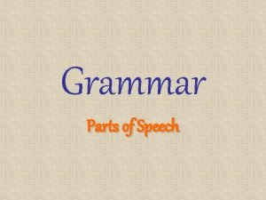 Grammar Parts of Speech Nouns Person Place Thing