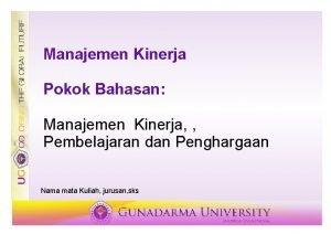 Manajemen Kinerja Pokok Bahasan Manajemen Kinerja Pembelajaran dan