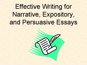 Effective Writing for Narrative Expository and Persuasive Essays